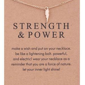 PREVIEW!! 'Strength' Lightening Bolt Gold Necklace
